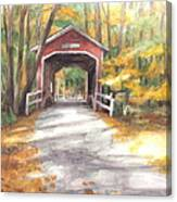 Covered Bridge Autumn Shadows Watercolor Painting Canvas Print