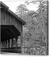 Covered Bridge Black And White Canvas Print