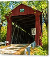 Covered Bridge In Fall Canvas Print