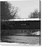Covered Bridge In Winter Canvas Print