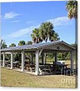 Covered Picnic Tables Canvas Print