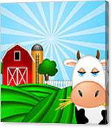 Cow On Green Pasture With Red Barn With Grain Silo  Canvas Print