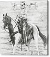 Cowboy And Horse No Fences Canvas Print