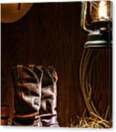 Cowboy Boots At The Ranch Canvas Print