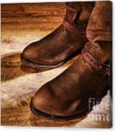Cowboy Boots On Saloon Floor Canvas Print