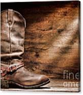 Cowboy Boots On Wood Floor Canvas Print