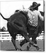 Cowboy Falling  From Bull Canvas Print