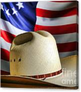 Cowboy Hat And American Flag Canvas Print
