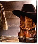 Cowboy Hat On Boots Canvas Print