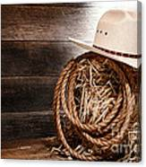 Cowboy Hat On Hay Bale Canvas Print