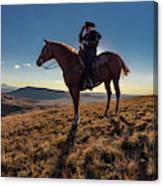 Cowboy Looks Out Over Historic Last Canvas Print