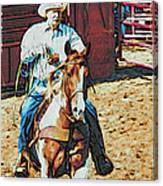 Cowboy On Paint Canvas Print