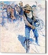 Cowboy Roping Wild Horses Canvas Print