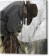 Cowboy Sleeps In The Saddle Canvas Print