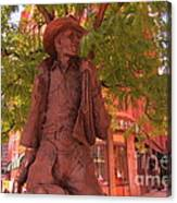 Cowboy Statue In Front Of The Brown Palace Hotel In Denver Canvas Print