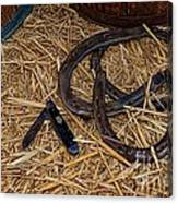 Cowboy Theme - Horseshoes And Whittling Knife Canvas Print