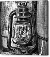 Cowboy Themed Wood Barrels And Lantern In Black And White Canvas Print