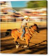 Cowboys Ride And Rope Cattle During San Canvas Print
