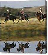 Cowboys Riding With Dogs Oregon Canvas Print