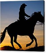 Cowgirl At Sunrise Canvas Print