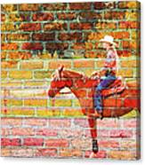 Cowgirl In Bricks Canvas Print