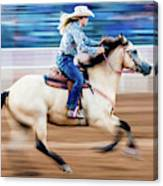 Cowgirl Rides Fast For Best Time Canvas Print