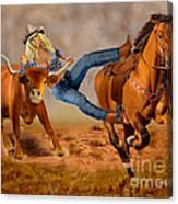Cowgirl Steer Wrestling Canvas Print