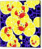 Crabs On Lemon Canvas Print