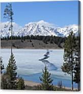 Cracked Ice On Jackson Lake Grand Teton Np Wyoming Canvas Print