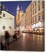 Cracow By Night In Poland Canvas Print