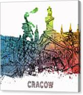 Cracow City Skyline Map Canvas Print