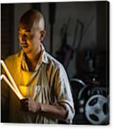 Craftsmen Holding A Lightning Bolt Shaped Neon Light Canvas Print
