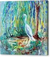 Crane And Willow Canvas Print