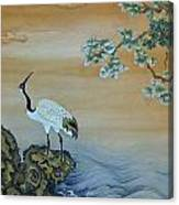 Crane Perched On A Rock At Dawn Canvas Print