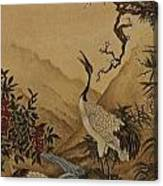 Cranes Beside A River With A Plum Tree Canvas Print