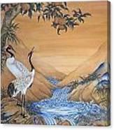 Cranes Beside A Rocky Pool Canvas Print