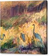 Cranes In The Grain Canvas Print