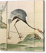 Cranes Pines And Bamboo Canvas Print