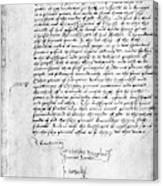 Cranmer Declaration, 1537 Canvas Print