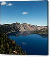 Crater Lake And Boat Canvas Print