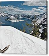 Crater Lake And Wizard Island In June Canvas Print