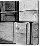 Crates At The Orchard 2 Bw Canvas Print
