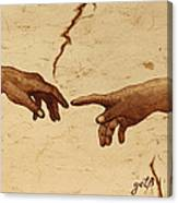 Creation Of Adam Hands A Study Coffee Painting Canvas Print