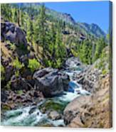 Creek Flowing Through Rocks, Icicle Canvas Print