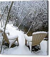 Creekside Chairs In The Snow 2 Canvas Print