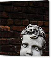 Creepy Marble Boy Garden Statue Canvas Print