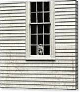 Creepy Victorian Girl Looking Out Window Canvas Print