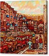 Crescent Street Family Stroll  Montreal City In Autumn City Scene Paintings Carole Spandau Canvas Print