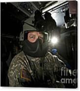Crew Chief In A Uh-60 Black Hawk Canvas Print