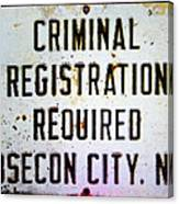 Criminal Registration Required Absecon City Nj Canvas Print